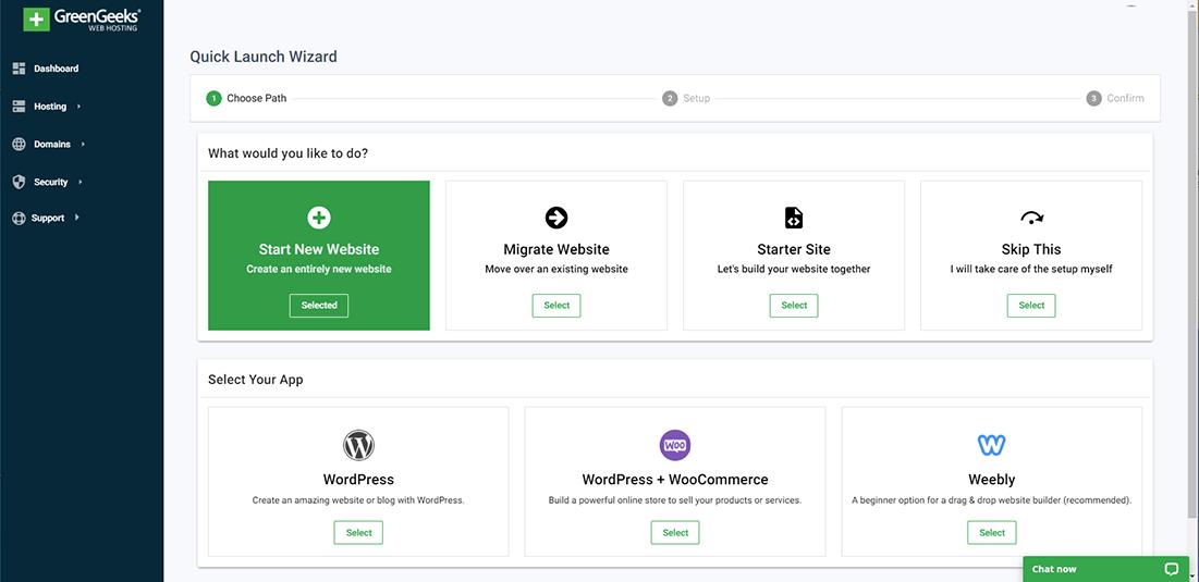 Select Start New Website